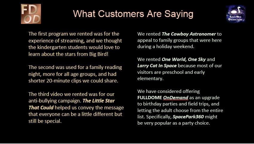 FULLDOME OnDemand customer reactions 1