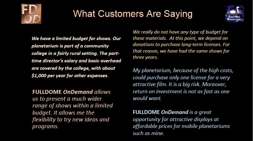 FULLDOME OnDemand customer reaction 2