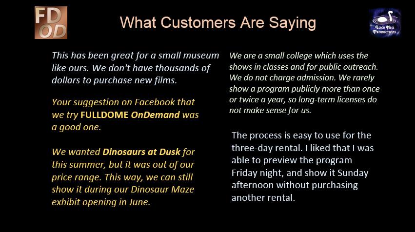FULLDOME OnDemand customer reaction 3